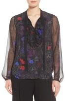 Elie Tahari Tahari Renata Ruffle Floral Silk Blouse