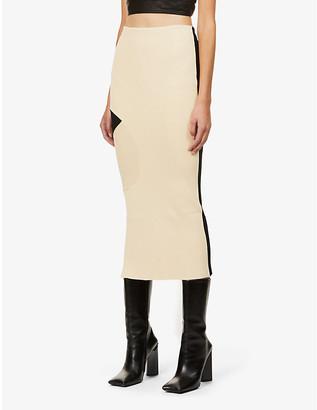 Off-White Contrast high-waist stretch-knit maxi skirt