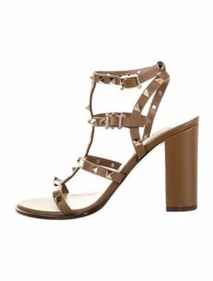 Valentino Leather Studded Accents Sandals Brown