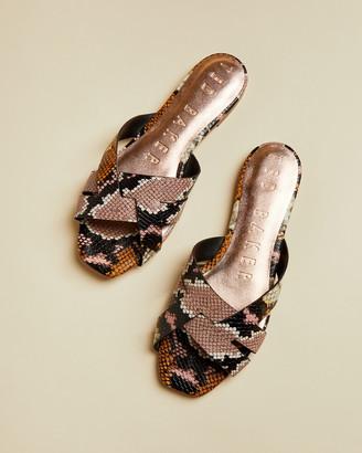 Ted Baker ZELANIS Leather snake effect slip on sandals