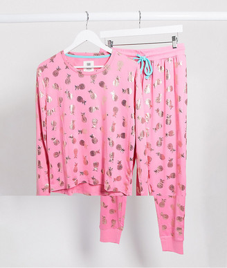 Chelsea Peers pineapple foil pyjama set in pink and gold