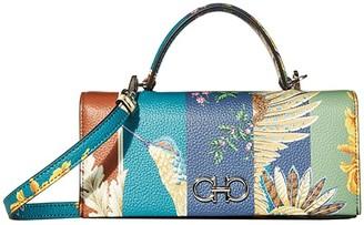 Salvatore Ferragamo Gancini Wallet on Chain with Top-Handle (Multi Print) Cross Body Handbags