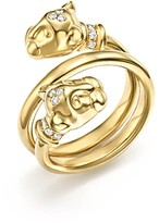 Temple St. Clair 18K Yellow Gold Double Wrap Lion Cub Diamond Ring