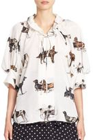 Stella McCartney Dog-Print Silk Blouson Blouse