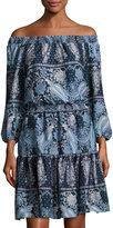 philosophy 3/4-Sleeve Smocked-Neck Dress, Blue