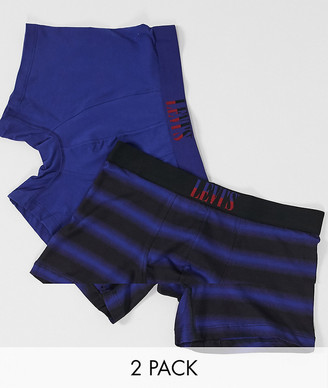 Levi's Levis mens 2 pack post college stripe boxer brief in blue