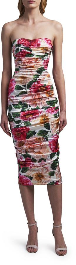 Dolce & Gabbana Strapless Sweetheart Midi Dress