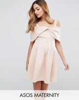 Asos Bow Front Off the Shoulder Bardot Skater Mini Dress