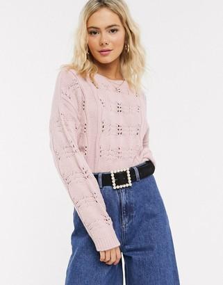 ASOS DESIGN lace stitch chunky sweater