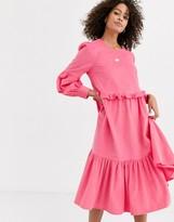 Asos Design DESIGN cord midi smock dress in bright pink