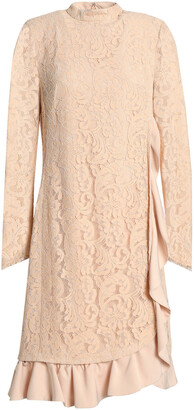Mikael Aghal Wrap-effect Ruffle-trimmed Corded Lace Dress
