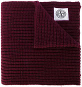 Stone Island logo patch ribbed scarf