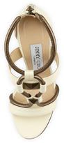 Jimmy Choo Vapour Stud-Front T-Strap Sandal, White/Pewter