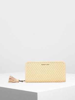 Charles & Keith Woven Tassel Zip Around Wallet