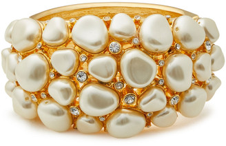 Kenneth Jay Lane 22-karat Gold-plated, Crystal And Faux Pearl Bangle