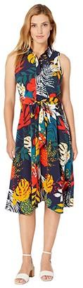 Tahari ASL Sleeveless Printed Crinkle Gauze Shirtdress (Navy Matisse Floral) Women's Dress