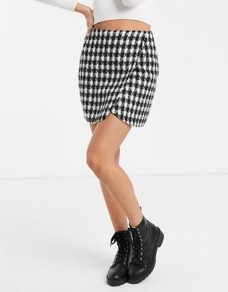 Parisian mini skirt in brushed check