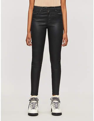 AG Jeans Farrah Skinny Ankle leather-look high-rise jeans