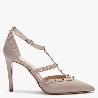 Daniel Tiff Beige Leather Studded Court Shoes