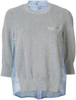Sacai contrast silk panel sweater - women - Cotton/Silk/Polyester - 3