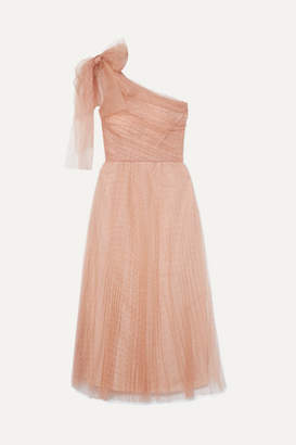 RED Valentino One-shoulder Pleated Point D'esprit Tulle Midi Dress - Pink