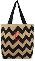 Cathy's Concepts Monogram Chevron Print Jute Tote - Grey