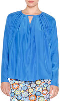 Emilio Pucci Long-Sleeve Pleated Top, Lapiz