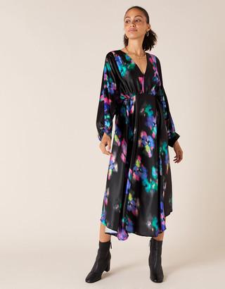 Monsoon Blur Print Satin Midi Dress Black