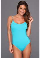 Calvin Klein Solid Low Back One-Piece (Bluebird) - Apparel