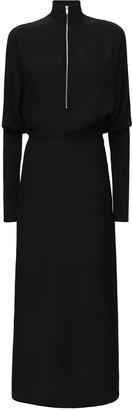 Zip-up Satin Midi Dress