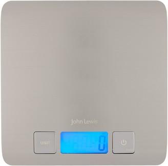 John Lewis & Partners Slim Stainless Steel Digital Kitchen Scales, 5kg