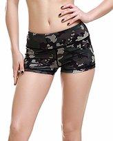 Looseplus Women's Yoga Beachwear Shorts Camouflage Leopard Print Hot Pants Sport Shorts