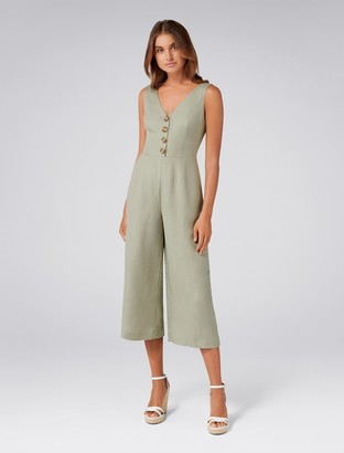 Forever New Clare Petite Button Front Jumpsuit - Gentle Khaki - 16