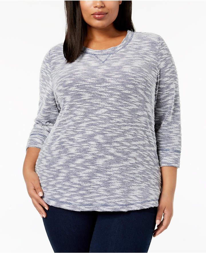 Karen Scott Plus Size Textured Sweatshirt Top