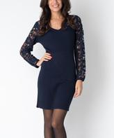 Yuka Paris Dark Blue Lace-Sleeve Cynthia Dress