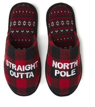 Dearfoams Unisex Holiday North Pole Novelty Scuff Slippers