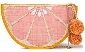 Kayu Pomelo Pompom-embellished Embroidered Straw Pouch