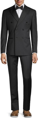 Saks Fifth Avenue Made In Italy Modern-Fit Double-Breasted Wool & Silk Tuxedo