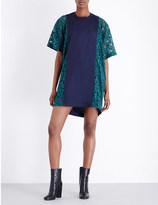 Sacai Contrast-panel poplin and lace dress