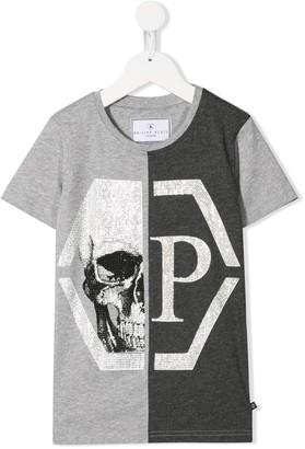 Philipp Plein Junior two-tone skull T-shirt