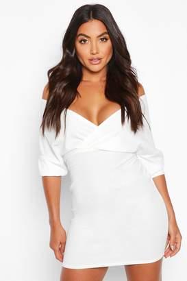 boohoo Off Shoulder Crepe Mini Dress