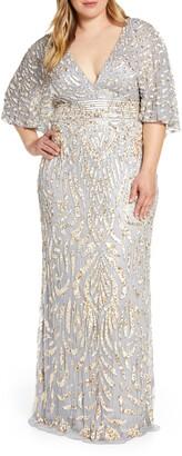 Mac Duggal Sequin Cape Sleeve Evening Gown