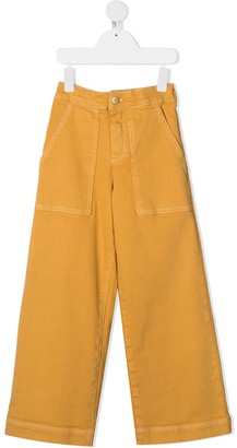 Molo Kids Stretch-Cotton Wide Leg Trousers