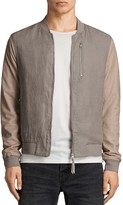AllSaints Devon Suede-Sleeve Bomber Jacket