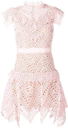 Self-Portrait Short Lace Detail Dress