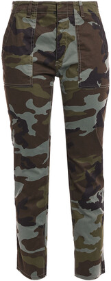 Nili Lotan Printed Stretch-cotton Straight-leg Pants