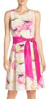 Eliza J Floral Print Faille Fit & Flare Dress (Petite)