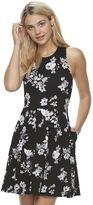 Juniors' SO® Textured Floral Skater Dress