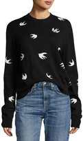 McQ by Alexander McQueen All Over Swallow Crewneck Sweatshirt, Black
