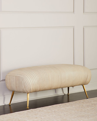 REGINA ANDREW Beretta Leather Bench, Beige
